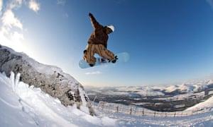 Snowboardin on the Nevis Range, Scotland