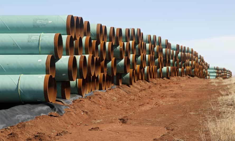 Miles of pipe ready to become part of the Keystone XL pipeline are stacked in a field near Ripley, Oklahoma