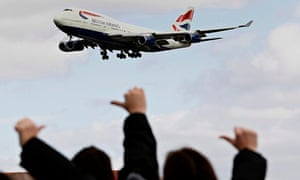 British Airways plane flies over protesters in 2010