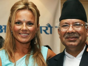 Former Spice Girl Geri Halliwell poses with Nepalese Prime Minister Madav Kumar Nepal