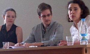 Edward Snowden gives a press conference at Sheremetyevo Airport, 12 Jul 2013.