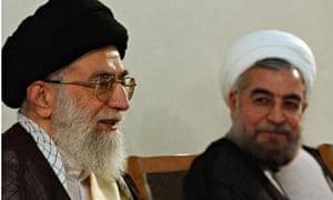 Ayatollah Ali Khamenei and the president, Hassan Rouhani