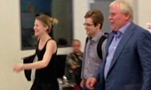 Edward Snowden with Sarah Harrison of WikiLeaks and Anatoly Kucherena at Sheremetyevo airport, Augus
