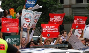 Protesters against the Keystone XL oil pipeline