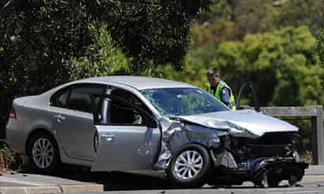 The aftermath of a crash in Melbourne.