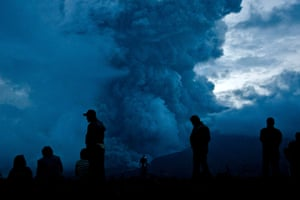 Mount Sinabung: People watch as Mount Sinabung erupts