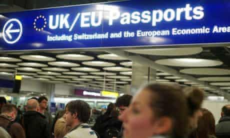 Airport queue for EU passport holders