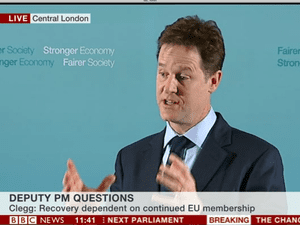 Nick Clegg at his press conference