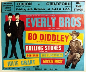 Phil Everly: UK tour poster from 1963 shows the Everly Brothers supported by Bo Diddley