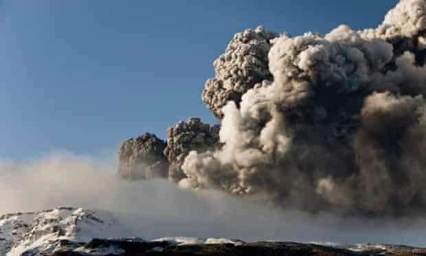 Ash plumes spew from the Eyjafjallajökull volcano in Iceland in March 2010.