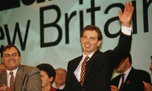 Tony Blair acknowleges applause at the Labour party conference, October 1994.