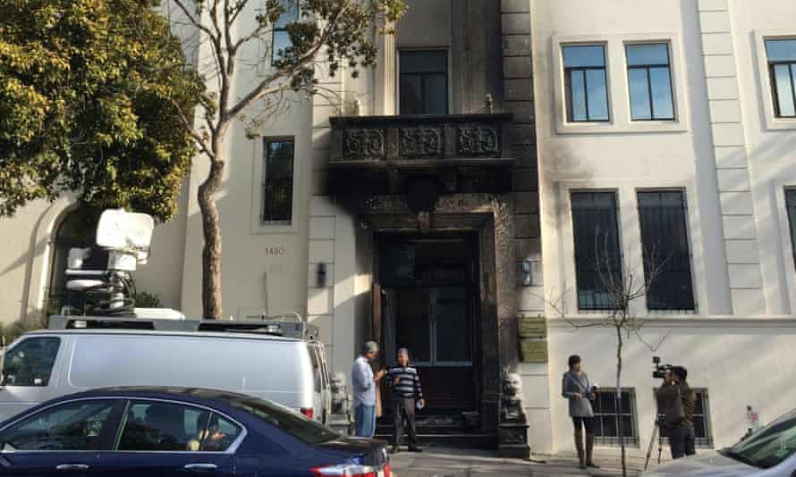 The front gate of the Chinese Consulate-General, damaged by an arson attack.