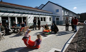 Self-build dream? … Residents outside the Lancaster Cohousing Project in Halton.