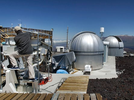 A scientist works at Hawaii's Mauna Loa Observatory, home of the Scripps CO2 Program.
