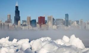 Chicago and Lake Michigan on 6 January 2014.