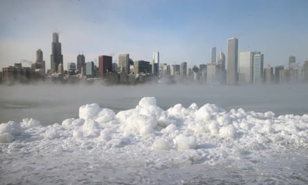 Ice builds up along Lake Michigan as temperatures dipped well below zero on January 6, 2014 in Chicago, Illinois.