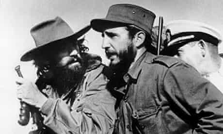 Fidel Castro (R) and Camilo Cienfuegos (L) enter Havana on January 8 1959 after victory over Batista