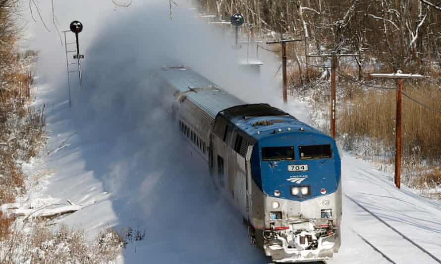 Amtrak trains passed through heavy snow and winds but were still largely functioning in the US north-east.