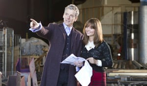 Peter Capaldi and Jenna Coleman filming Doctor Who