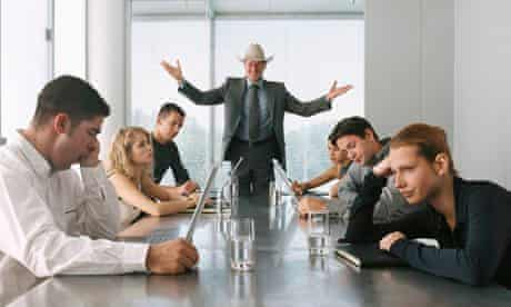 Businessman Talking to Bored Staff in Meeting - meaningful job career article