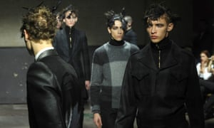 Models walk the runway at the Alexander McQueen show London Collections: Men autumnwWinter 2014 on January 7, 2014