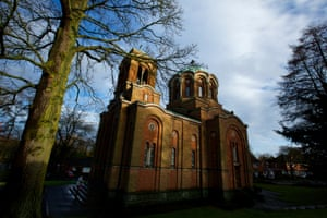 Exterior of the Serbian Orthodox Lazarica Church in Bournville, Birmingham.
