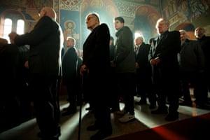 Serbian Orthodox Christians celebrating the Nativity of Christ  liturgy at the Lazarica Church in Bournville, Birmingham.
