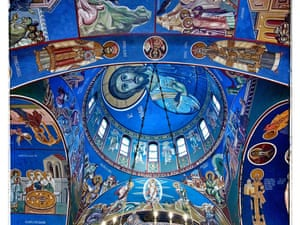 Intricatelly decorated ceiling the church. Orthodox Christians celebrate Christmas on the 7th of January in accordance with the Julian calendar. plg