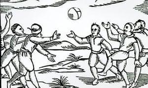 Elizabethan Football woodcut print by English School, 16th century