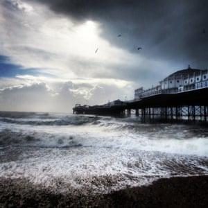 Brighton pier on a stormy day