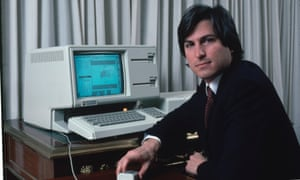 Steve Jobs with a LISA computer in 1983