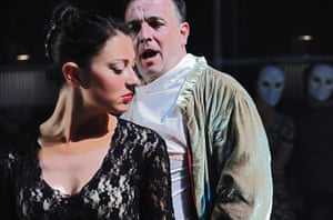 Duchess of Malfi: Claudia Huckle and Andrew Watts in The Duchess of Malfi by ENO and Punchdru