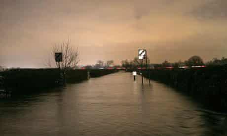 Wytham road flooded, near Oxford