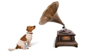 Vintage gramophone with dog, victor