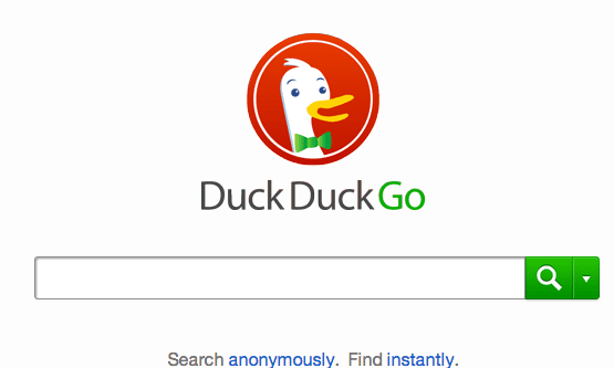 DuckDuckGo's homepage.