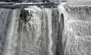 Ice forms on the US side of the Niagara Falls.