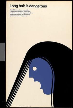 Tom Eckersley: Tom Eckersley Long hair warning poster