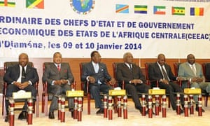 Central African Republic head Michel Djotodia and regional leaders at a summit in N'Djamena, Chad
