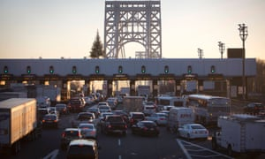 The George Washington bridge toll booths are pictured in Fort Lee, New Jersey on 9 January 2014.