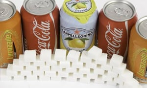 cans of drins and sugar cubes