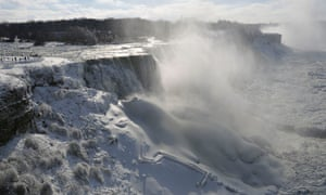 Frozen mist rises above Prospect Point at Niagara falls.