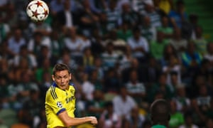 Chelsea's midfielder Nemanja Matic scores the only goal of the Champions League game against  Sporting Lisbon.