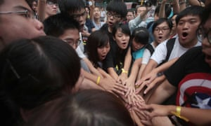 Joshua Wong with activists