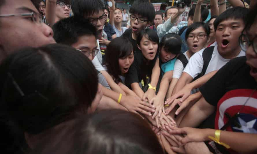 Joshua Wong with activists