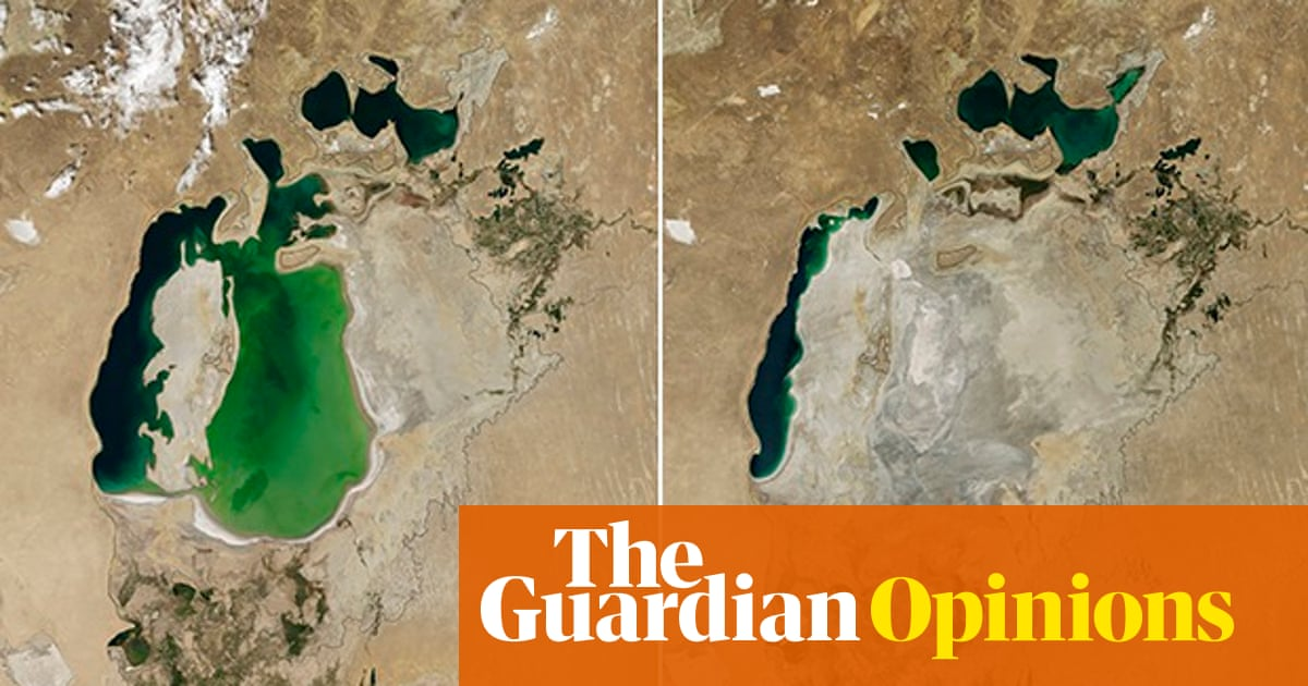 Cotton production linked to images of the dried up Aral Sea