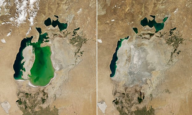 Before and After satellite image of the Aral sea