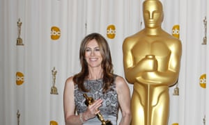 Kathryn Bigelow with her Oscar for The Hurt Locker.