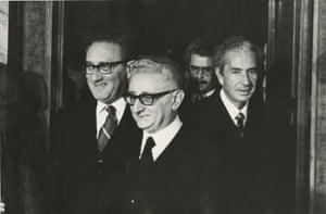 Secretary of State Henry Kissinger, Italian President Giovanni Leone and Prime Minister Aldo Moro, Rome, 1975.