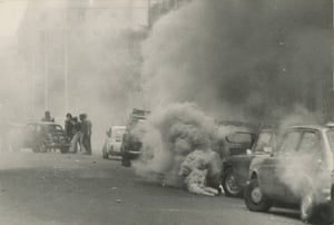 Clash between police and far-left protesters, Rome, 1977.