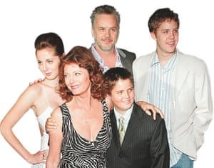 Susan Sarandon with ex-husband Tim Robbins, their sons and her daughter